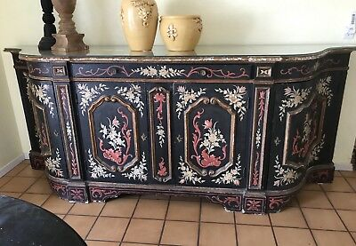 Hand Painted Antique Buffet Sideboard, Credenza