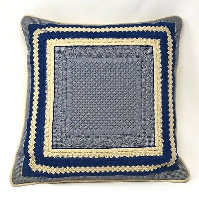 Vintage Blue and Off White Needlepoint Throw Pillow 14 x 14 Hand Made