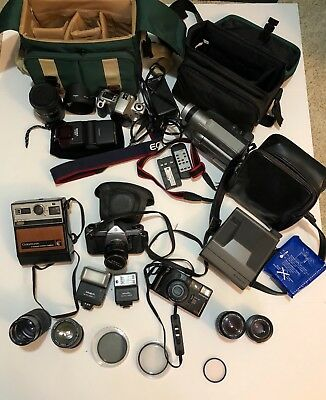 Lot of Cameras Lenses Flashes Pentax Cannon Olympus JVC VHS Lot Untested