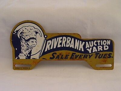 Riverbank Auction Yard Cows Bulls Steer Farm Advertising License Plate Topper