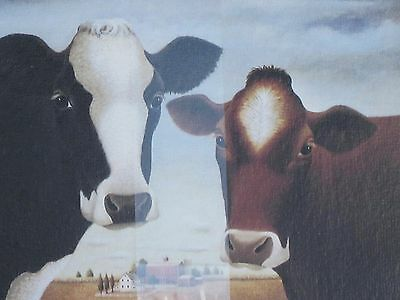 """LANG COWS COW """"The Two of Us"""" LOWELL HERRERO French Linen Note Stationery 1995"""