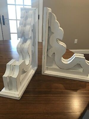LARGE RUSTIC CORBEL/BRACKETS Distressed White chunky Wood Corbel FARMHOUSE style
