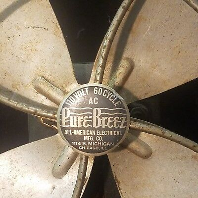 Rare Vintage Pure-Breez Electric Fan All-American Electrical Mfg Co Chicago