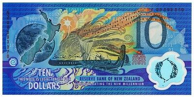 New Zealand • 2000 • Millennium $10 Polymer Banknote in Folder • Red Serial #s