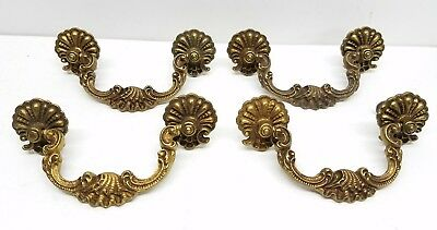 Vintage Antique Drawer Pull Handle Solid Brass set of 4 Shell