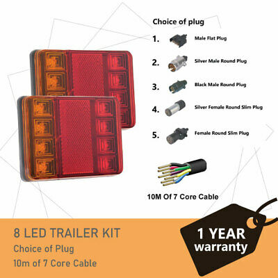 Pair of 8 LED TRAILER LIGHTS KIT and  1 x Trailer Plug, 10M x 7 CORE CABLE 12V