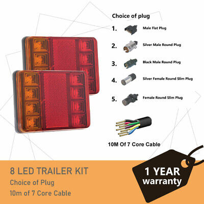Pair of 8 LED TRAILER LIGHTS KIT - 1 x Trailer Plug, 8M x 7 CORE CABLE 12V
