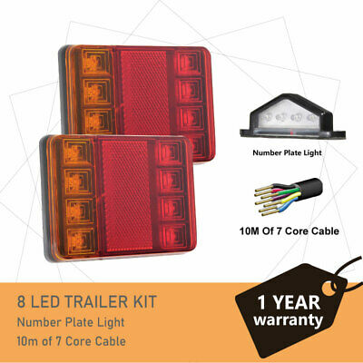 Pair of 8 LED TRAILER LIGHTS KIT -1 x NUMBER PLATE LIGHT, 10M x 7 CORE CABLE 12V