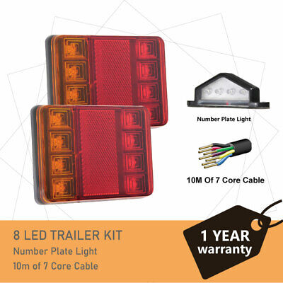 Pair of 8 LED TRAILER LIGHTS KIT - 1 x NUMBER PLATE LIGHT, 8M x 7 CORE CABLE 12V