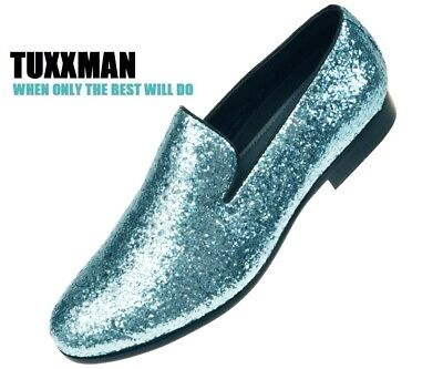 876663839d21b NEW MENS SPARKLING Turquoise Glitter Loafers Dress Shoes Slip on's TUXXMAN