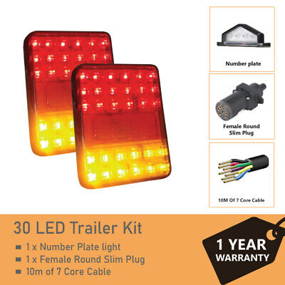 Pair of 30 LED TRAILER LIGHTS KIT - 1x NUMBER PLATE LIGHT, 8M x 7 CORE CABLE 12V