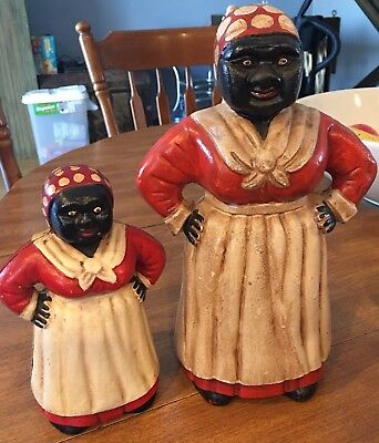 "Vintage Style 11"" Cast Iron Black Mammy Americana Aunt Jemima Coin Bank Doorstop"