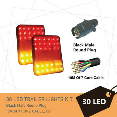Pair of 30 LED TRAILER LIGHTS KIT - 1 x Trailer Plug, 1 x 8M 7 CORE CABLE, 12V