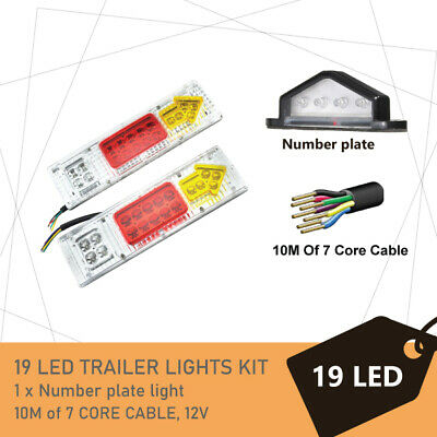 Pair of 19 LED TRAILER LIGHTS KIT -1 x NUMBER PLATE LIGHT, 8M x 7 CORE CABLE 12V