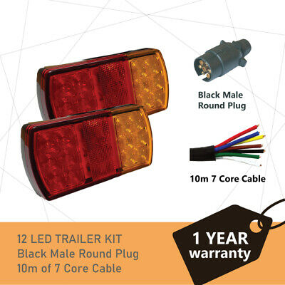 Pair of 12 LED TRAILER LIGHTS KIT - 1 x Trailer Plug, 1 x 8M 7 CORE CABLE, 12V