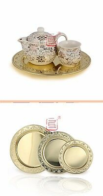 Stainless steel golden coloured plate tray/ charger plate 30cm, 40cm – AU STOCK
