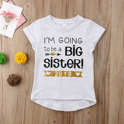 Baby Girl Clothes Outfit Big Sister Letter Print T-Shirt Top Blouse Shirts 1-6Y