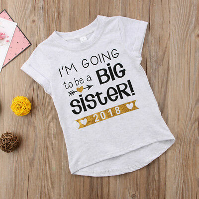 Toddler Girls T-shirt - I'M GOING to be a BIG SISTER 2018 - Summer Clothes Tops
