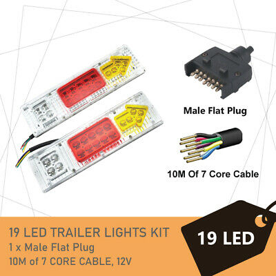 Pair of 19 LED TRAILER LIGHTS KIT - 1 x Trailer Plug, 1 x 8M 7 CORE CABLE, 12V