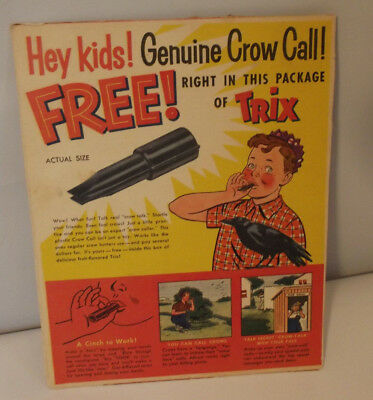 Vintage 1950's General Mills Trix Genuine Crow Call Cereal Box Back