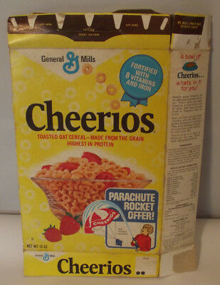 Vintage 1973 General Mills Cheerios Parachute Rocket Offer Cereal Box
