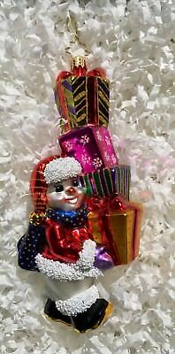 Christopher Radko Hand Blown Glass Christmas Ornament-FROSTY STACKED W/PRRSENTS