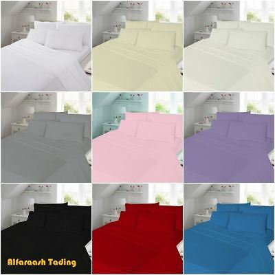 Thermal Flannelette 100% Brushed Cotton Fitted Flat Bed Sheet Set Pillow Cases