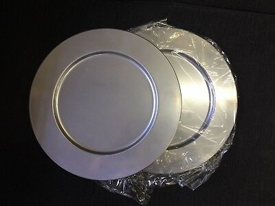 """AsiaCraft™ Metal Silver Finish 14"""" Charger Plate  (2 Pieces)"""