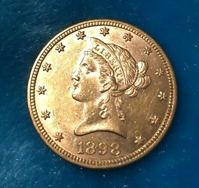 1898 Gold Ten D $10 Liberty Eagle Coin - Almost Uncirculated Condition