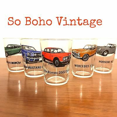 Super Cool Mid Century Vintage Classic Car Drinking Glasses