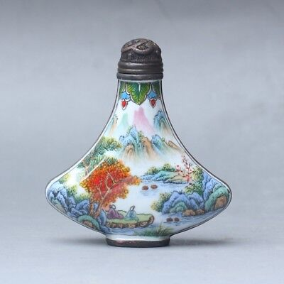 Chinese Exquisite Handmade landscape people pattern Cloisonne snuff bottle