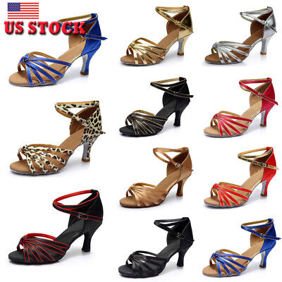 Women New Satin Ballroom Tango Heeled Shoes Salsa Latin  Prom Waltz  Dance Shoes