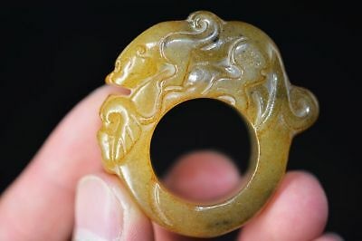 Excellent Chinese natural old jade carved beast Fingerstall/Thumb Ring    E12
