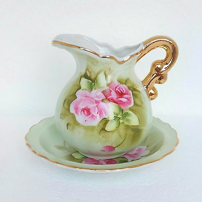 Vintage Lefton China Pitcher Bowl 2pc Set #4577 Heritage Green Pink Gold Trim