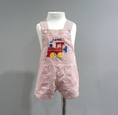 Vintage Romper Baby Boys Size 6 12 Months Train Toot Red White Stripes