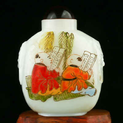 Chinese Jade Hand Drawed Children Study and Play Scenes Snuff Bottle AFM0142