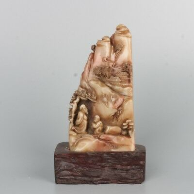 Chinese Exquisite Hand-carved Landscape and people carving Shoushan Stone seal