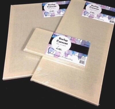 BULK 6 Burlap Artist Canvas Wooden Frame Stretched For Craft Painting Embroidery