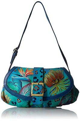 Anuschka Genuine Leather Hand Painted Small Ruched Flap Handbag