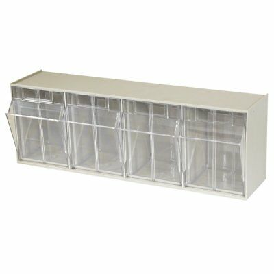 Akro-Mils 06704 TiltView Horizontal Plastic Storage System with Four Tilt Out ,
