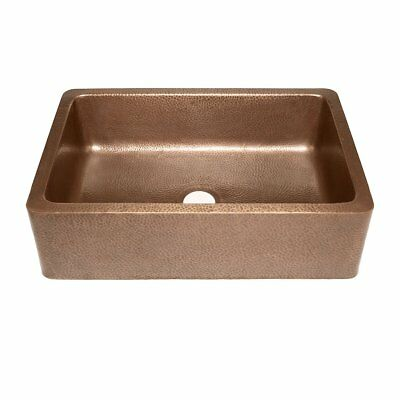 Adams Farmhouse Apron Front Handmade Copper Kitchen Sink 33 in. Single Bowl in