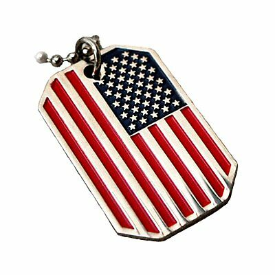 USA Flag Pendant Necklace Nickel Free Metal Stars & Stripes Chain Necklace 28""