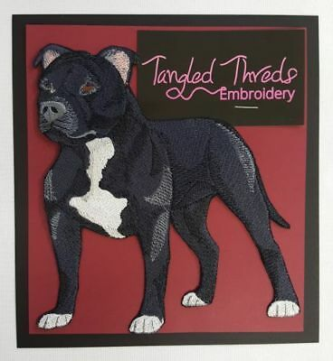 "Staffordshire Bull Terrier, Pit Bull Dog  Embroidered Patch 5.8"" x 6.2"""