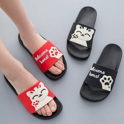 Soft Soled Men Women Summer Slippers Cute Cat Pattern Non-slip Couple Slippers O
