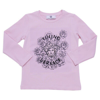 Young Versace T-shirt rosa in jersey di cotone