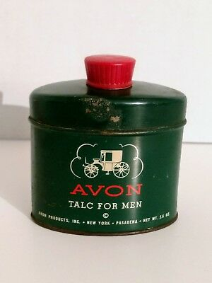 Vintage Avon Tin Collectable Collection Talc for Men Dark Green With Red Top