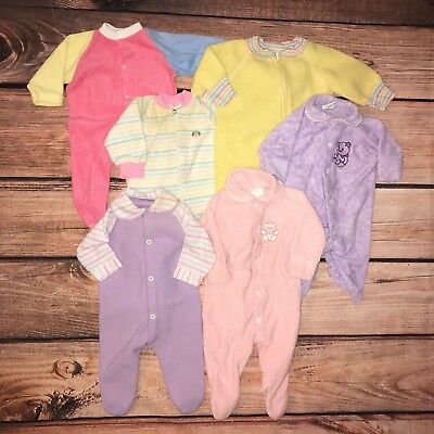 Vintage Baby Girl Lot of Sleepers Size 3 - 6 months Royal Heir Toddle Time