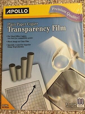 "New Sealed Apollo Plain Paper Copier Transparency Film 100 Sheets 8.5""x11 PP100C"