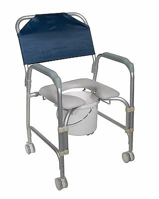 Medical Aluminum Shower Chair Commode Toilet Seat Swivel casters Shower Bath New