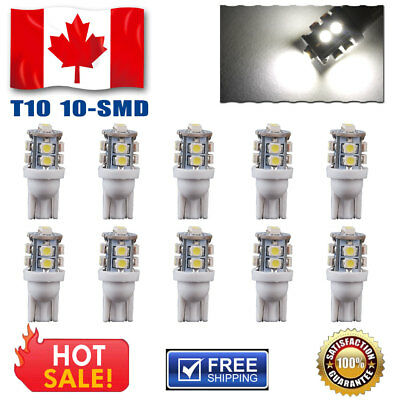 10 PCS 10-SMD HID White T10 168 194 2825 175 906 12V Led License Plate Lights